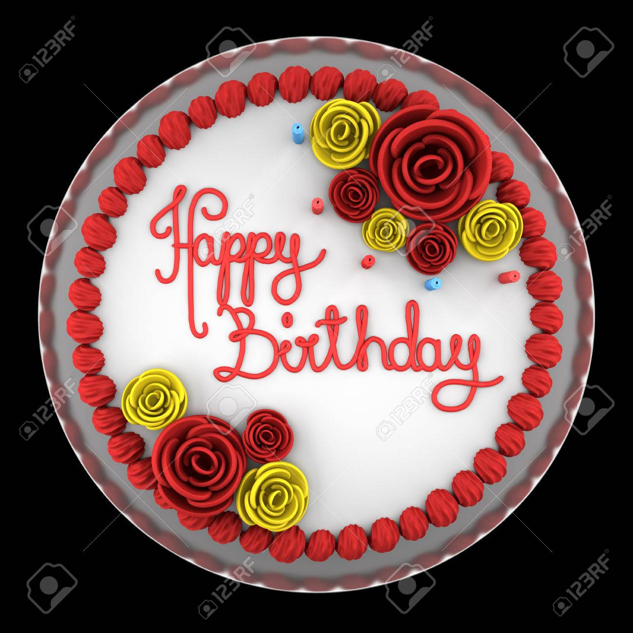 Surprising Top View Of Round Birthday Cake With Candles On Dish Isolated Funny Birthday Cards Online Inifodamsfinfo