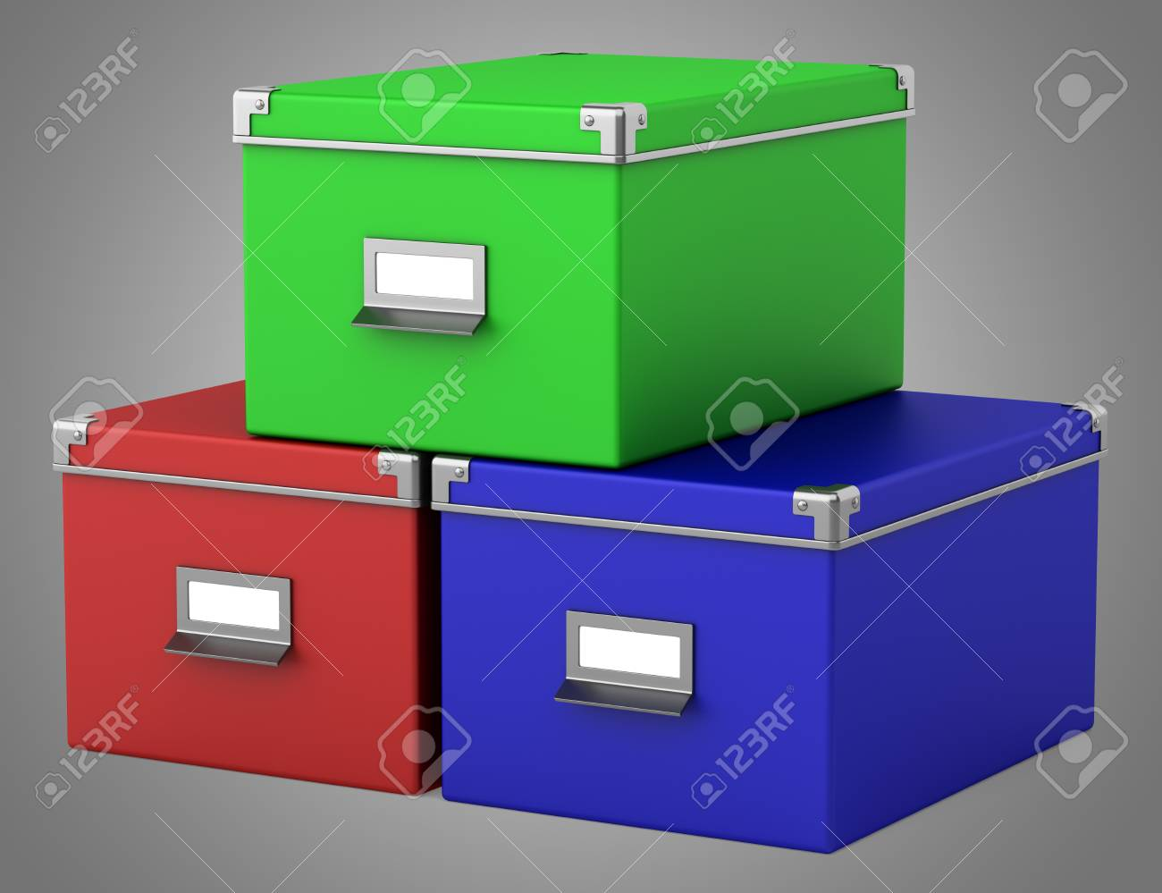 Trois boîtes en carton de bureau de couleur sur fond gris banque d
