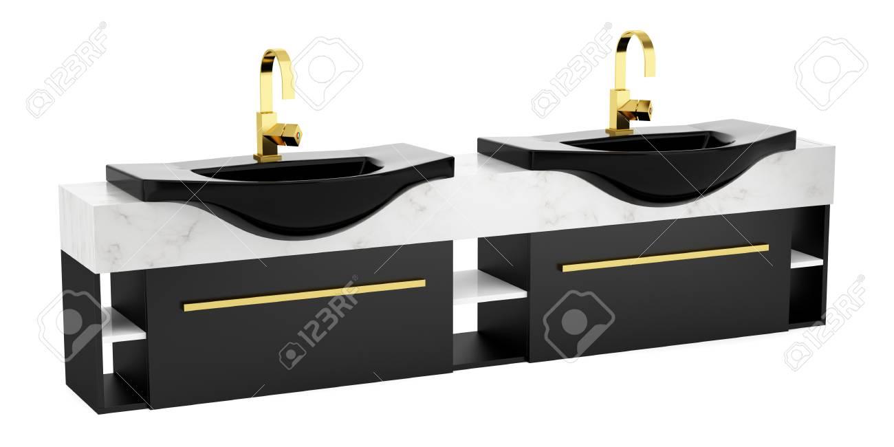 Immagini Stock - Moderno Doppio Lavabo Bagno Nero Isolato Su Sfondo ...