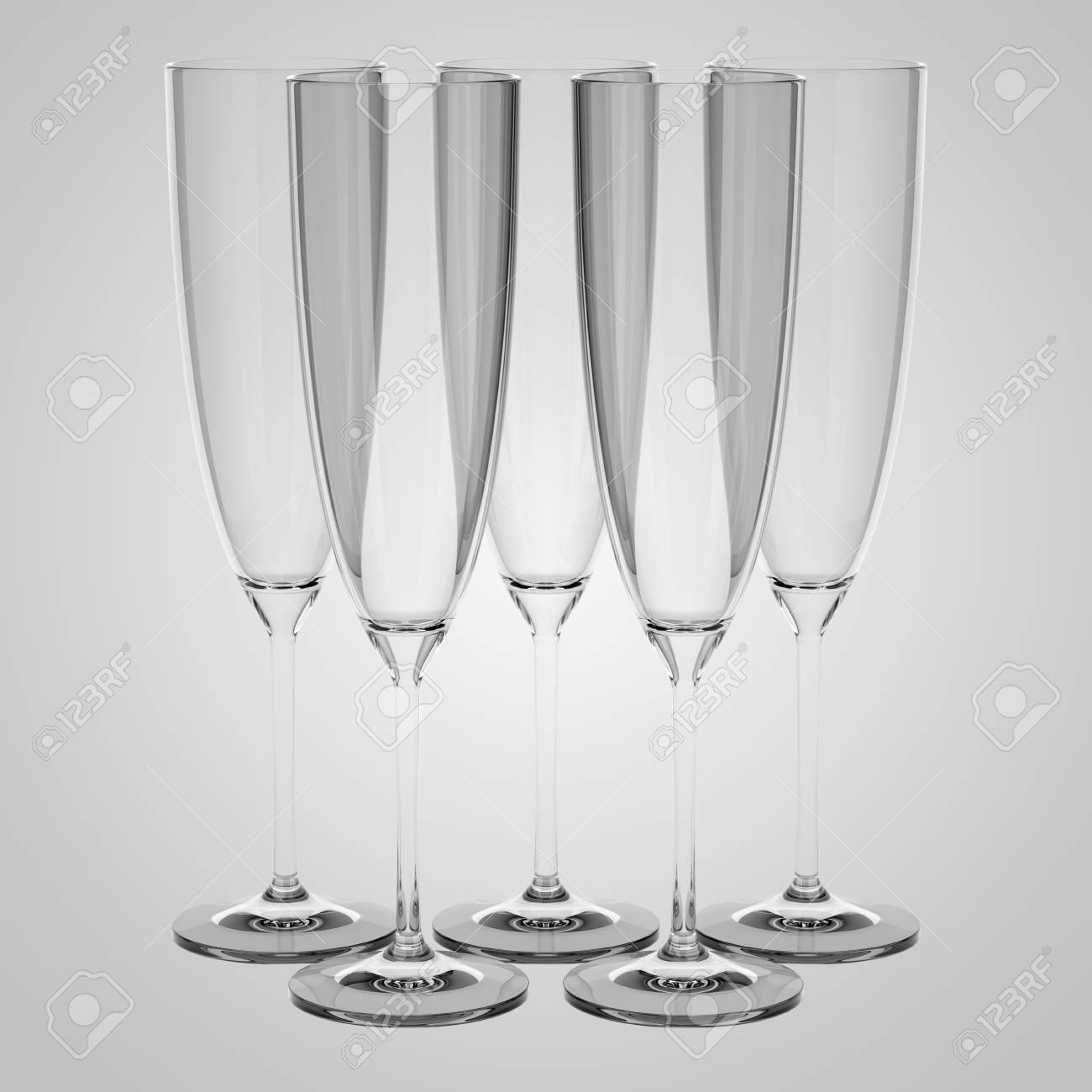 empty champagne glasses isolated on gray background Stock Photo - 23429914