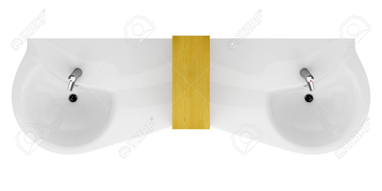 Stock Photo   top view of modern double bathroom sink isolated on white  background. Top View Of Modern Double Bathroom Sink Isolated On White