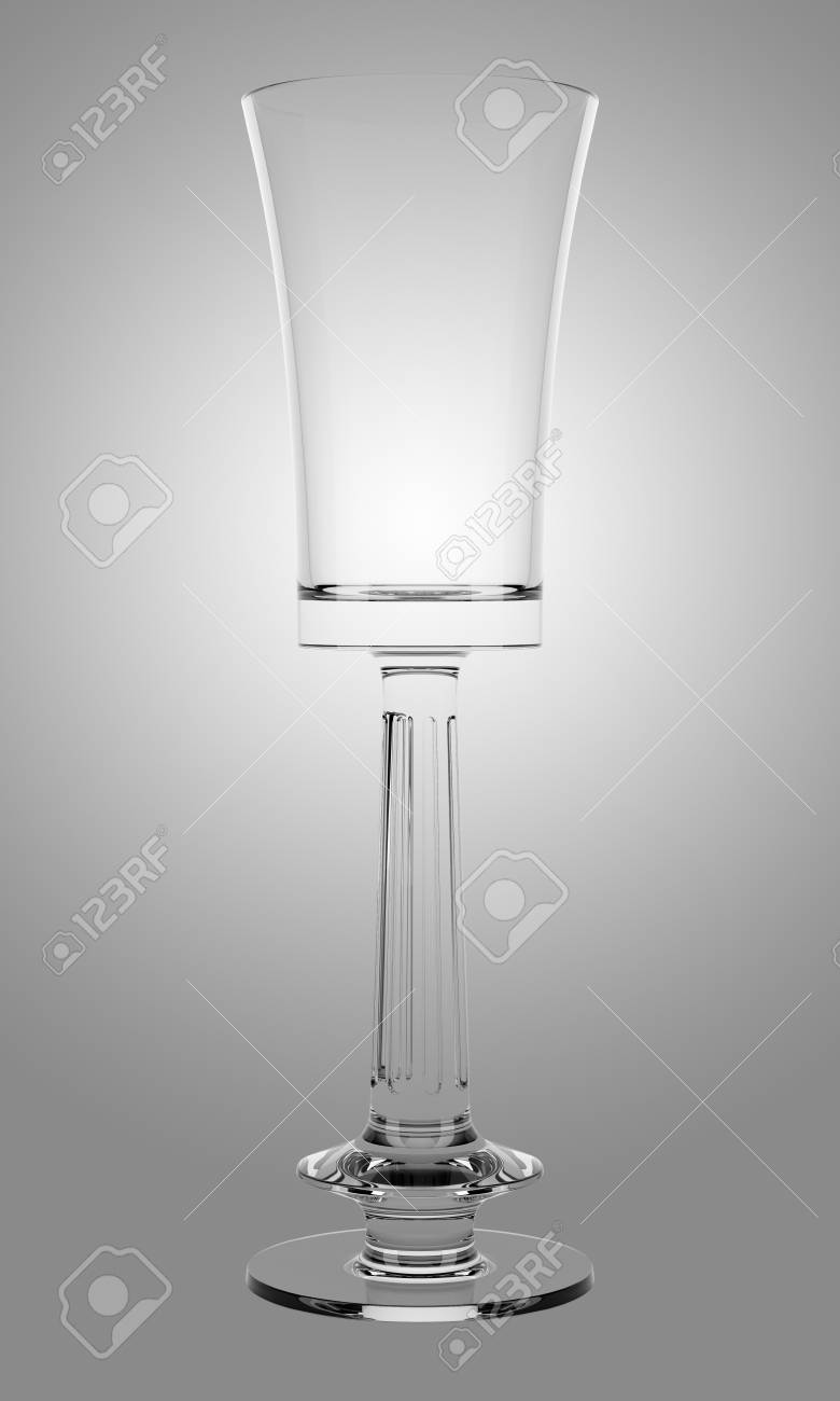 empty champagne glass isolated on gray background Stock Photo - 25711741