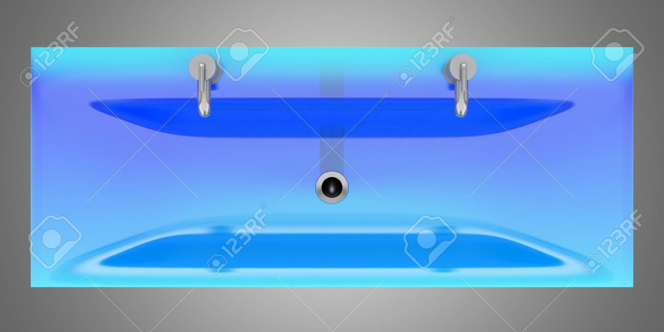 Bathroom sink top view - Stock Photo Top View Of Modern Blue Glass Double Bathroom Sink Isolated On Gray Background