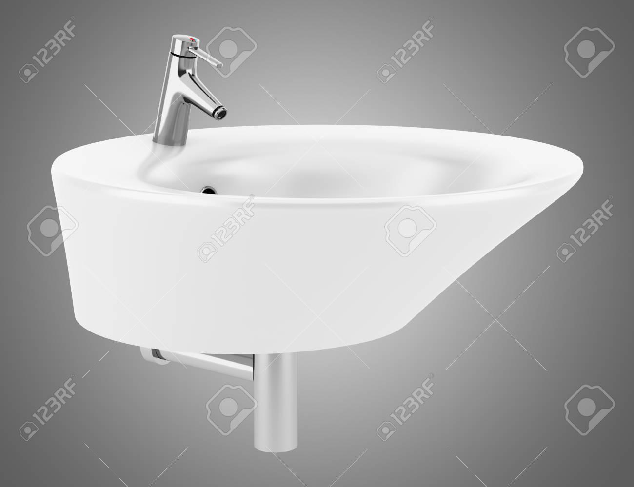 Wasbak Badkamer Grijze : Keramische wastafel badkamer geïsoleerd op een grijze achtergrond