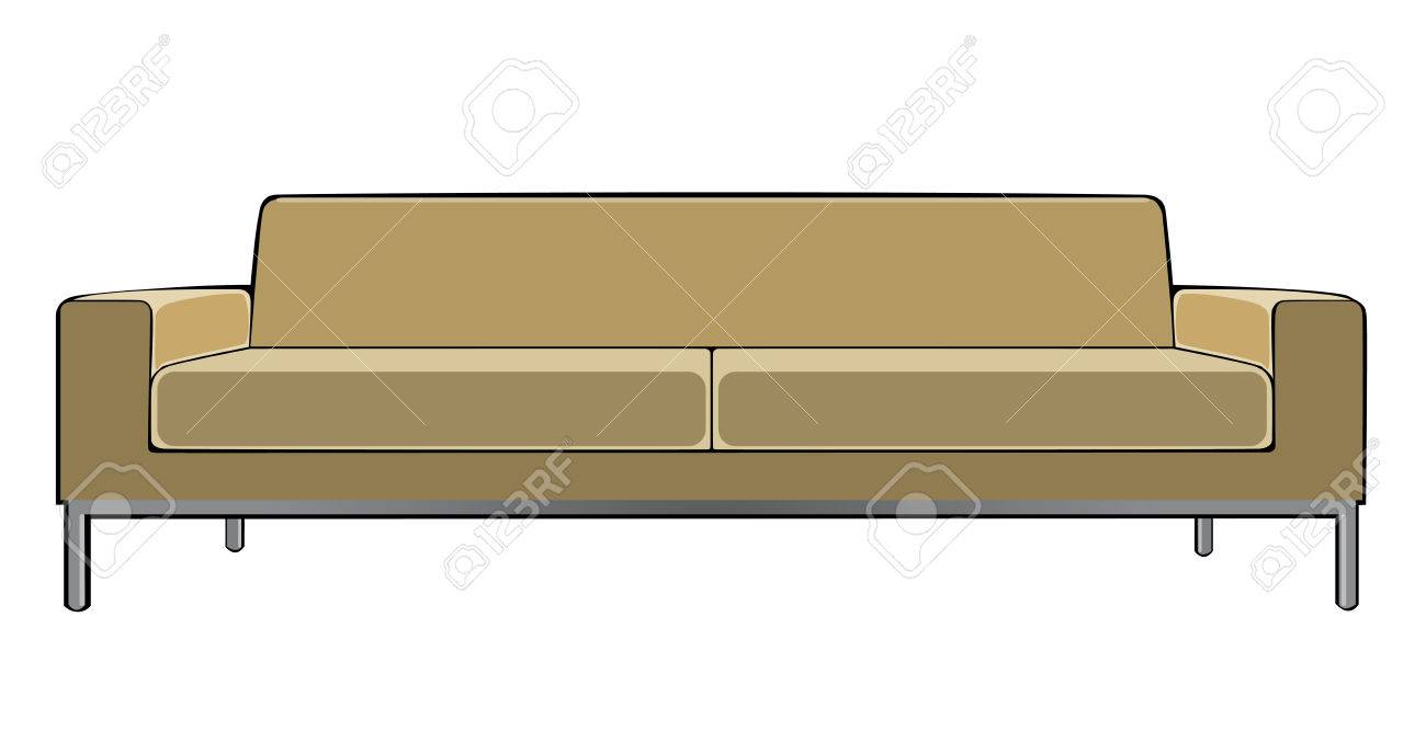 Vector Cartoon Beige Couch Isolated On White Background Royalty Free