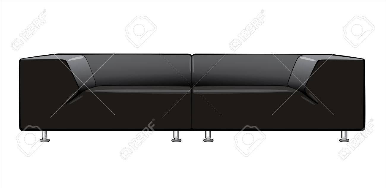 Vektor Cartoon Schwarzen Couch Auf Weissem Hintergrund Lizenzfrei