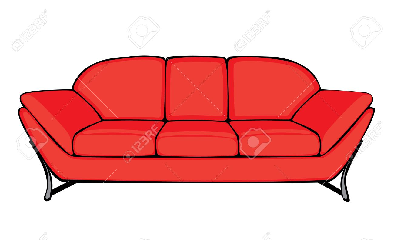 vector cartoon red couch isolated on white background royalty free