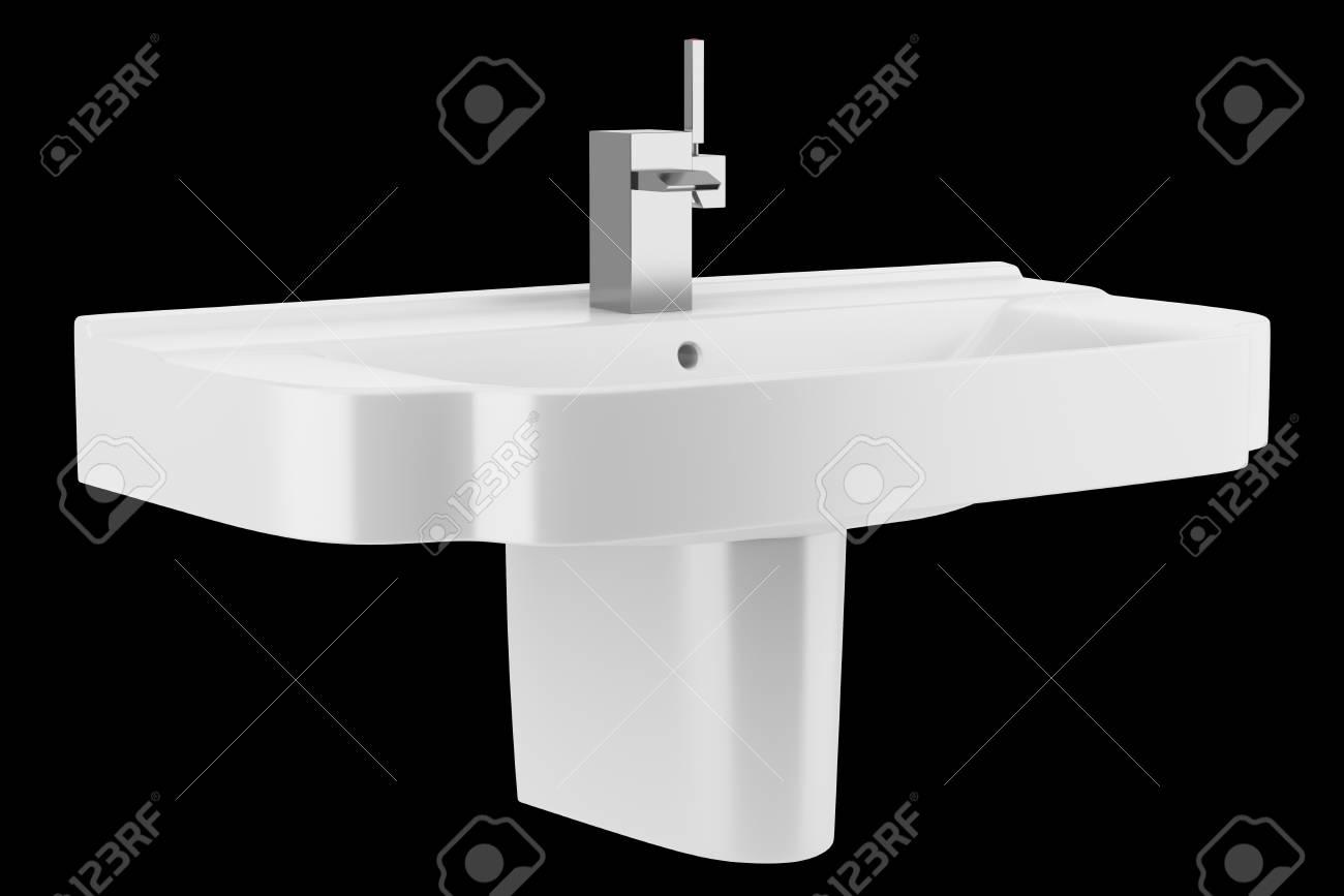 Keramische wastafel badkamer geïsoleerd op zwarte achtergrond