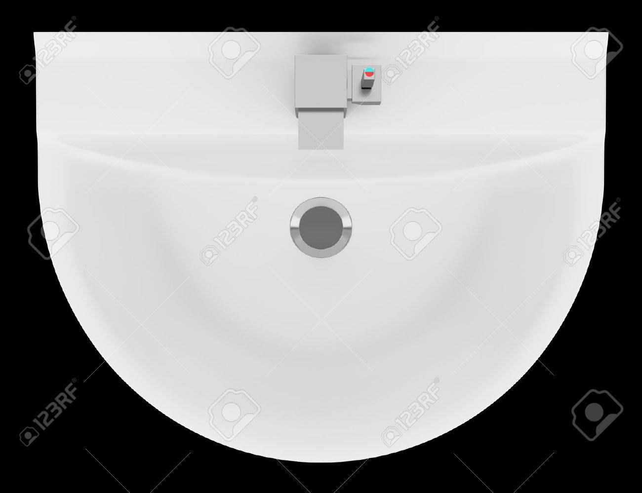 Bovenaanzicht Van Keramische Badkamer Wastafel Geïsoleerd Op Zwarte ...