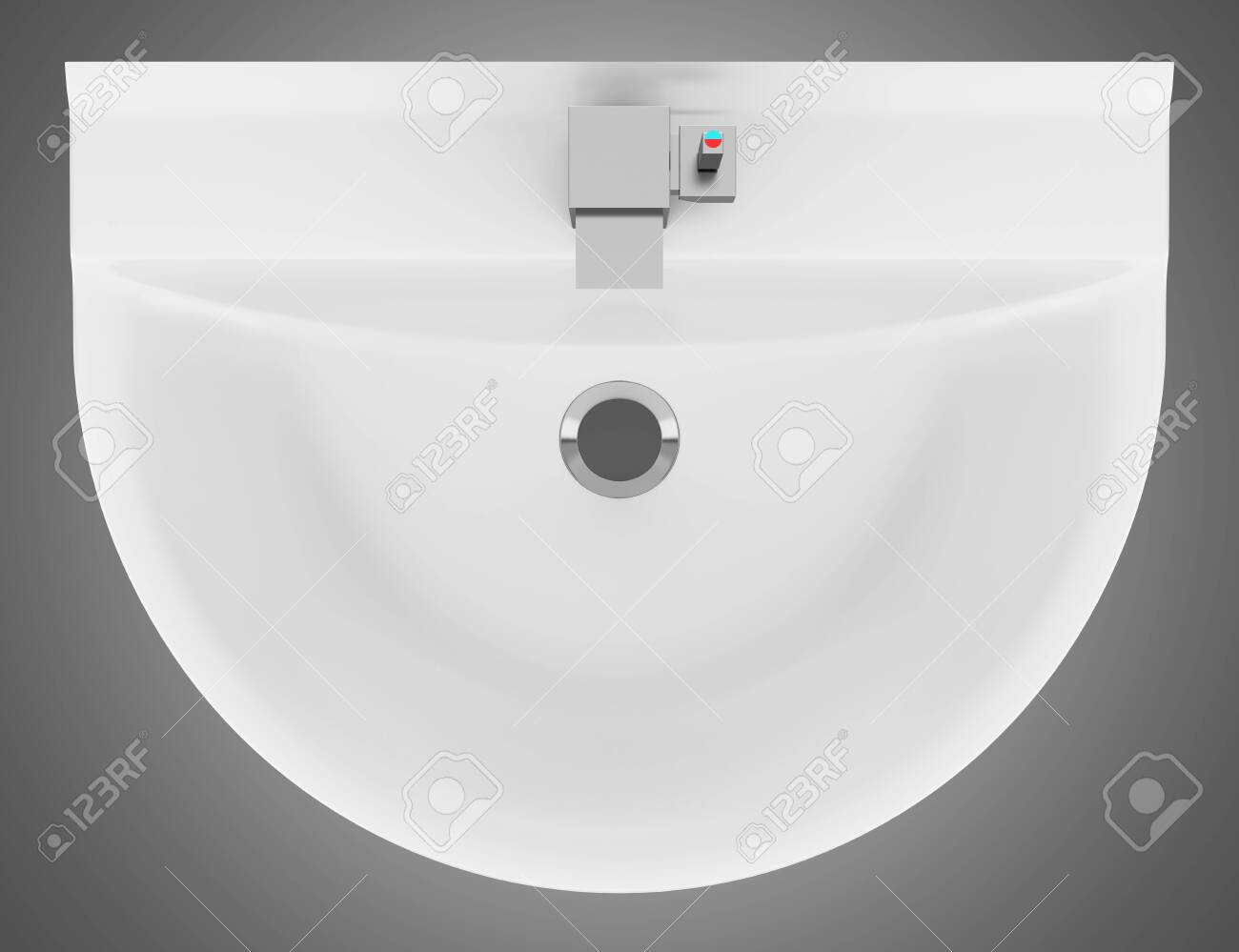 Bathroom sink top view - Stock Photo Top View Of Ceramic Bathroom Sink Isolated On Gray Background