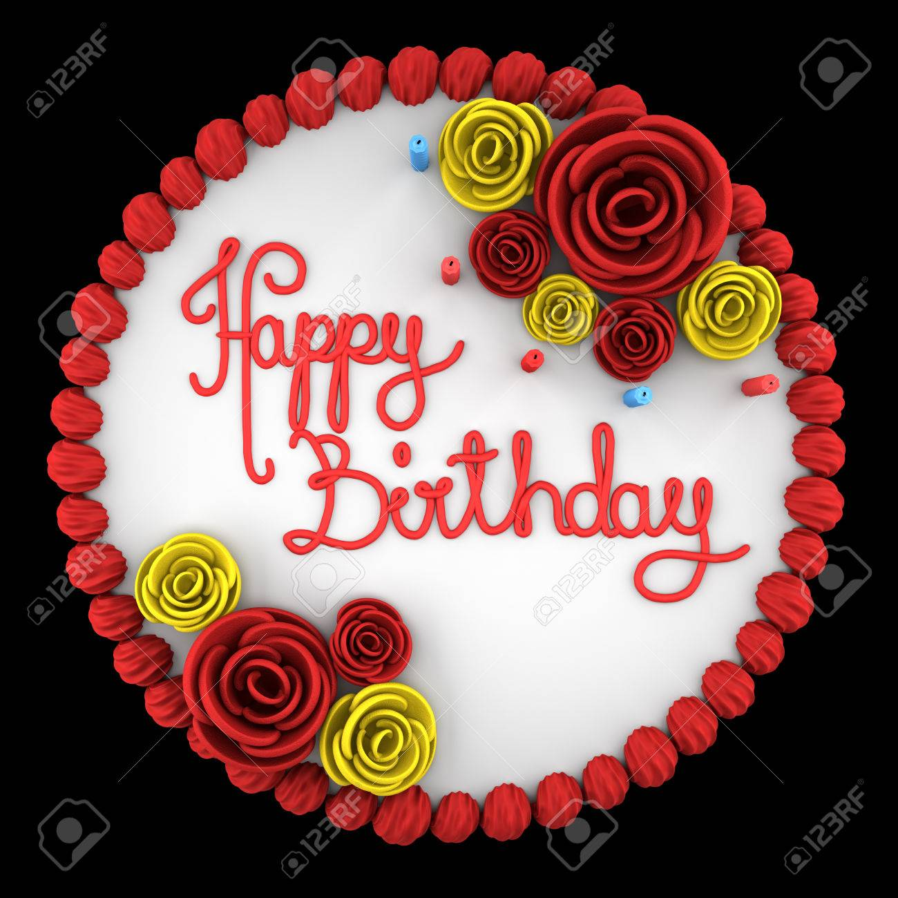 Cool Top View Of Round Birthday Cake With Candles On Dish Isolated Funny Birthday Cards Online Barepcheapnameinfo