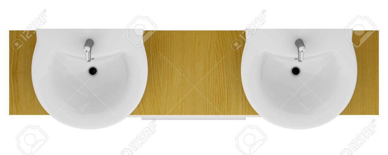 Bathroom Sinks Top   Top view of modern double bathroom sink isolated on  white. Bathroom Sinks Top  Bathroom top double vanity dove grey with