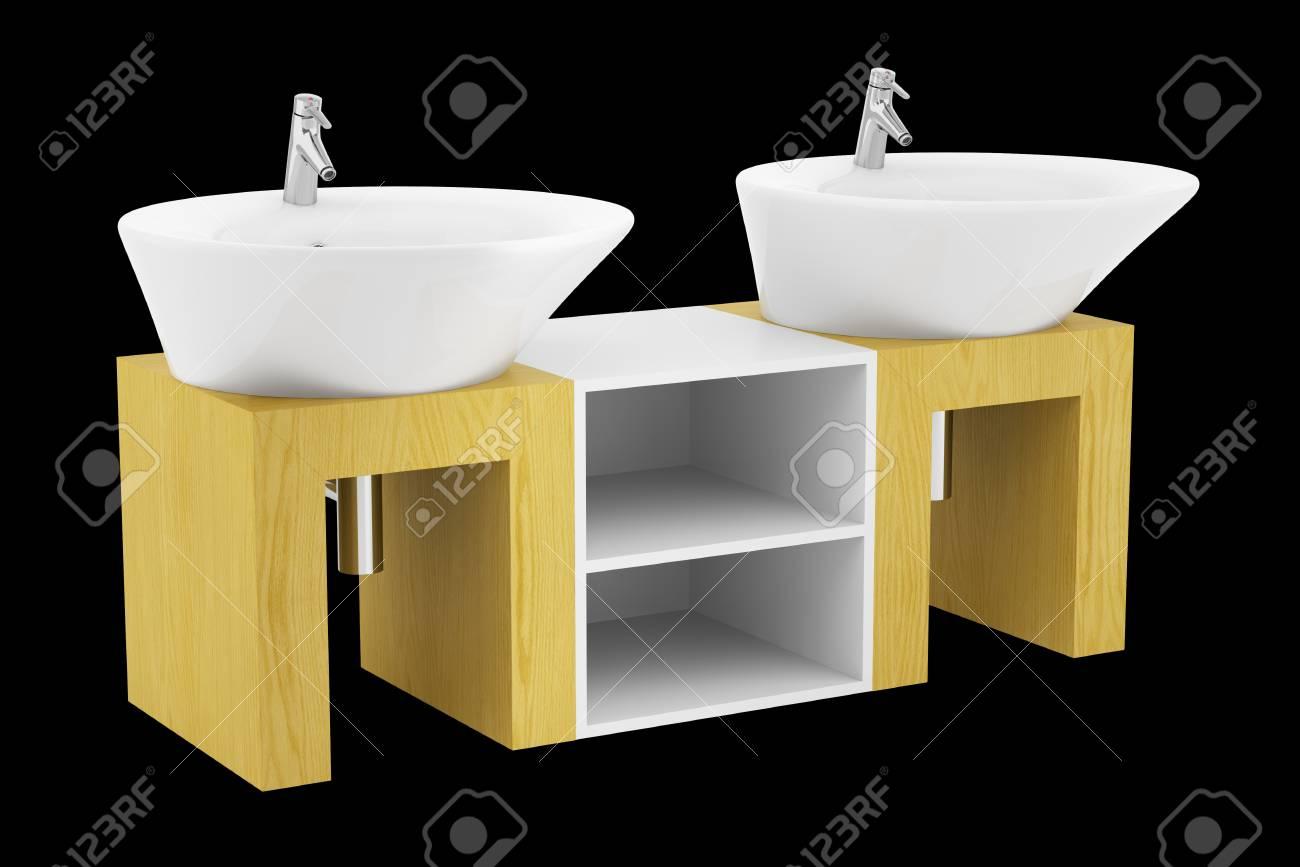 Salle de bain double évier moderne isolé sur fond noir