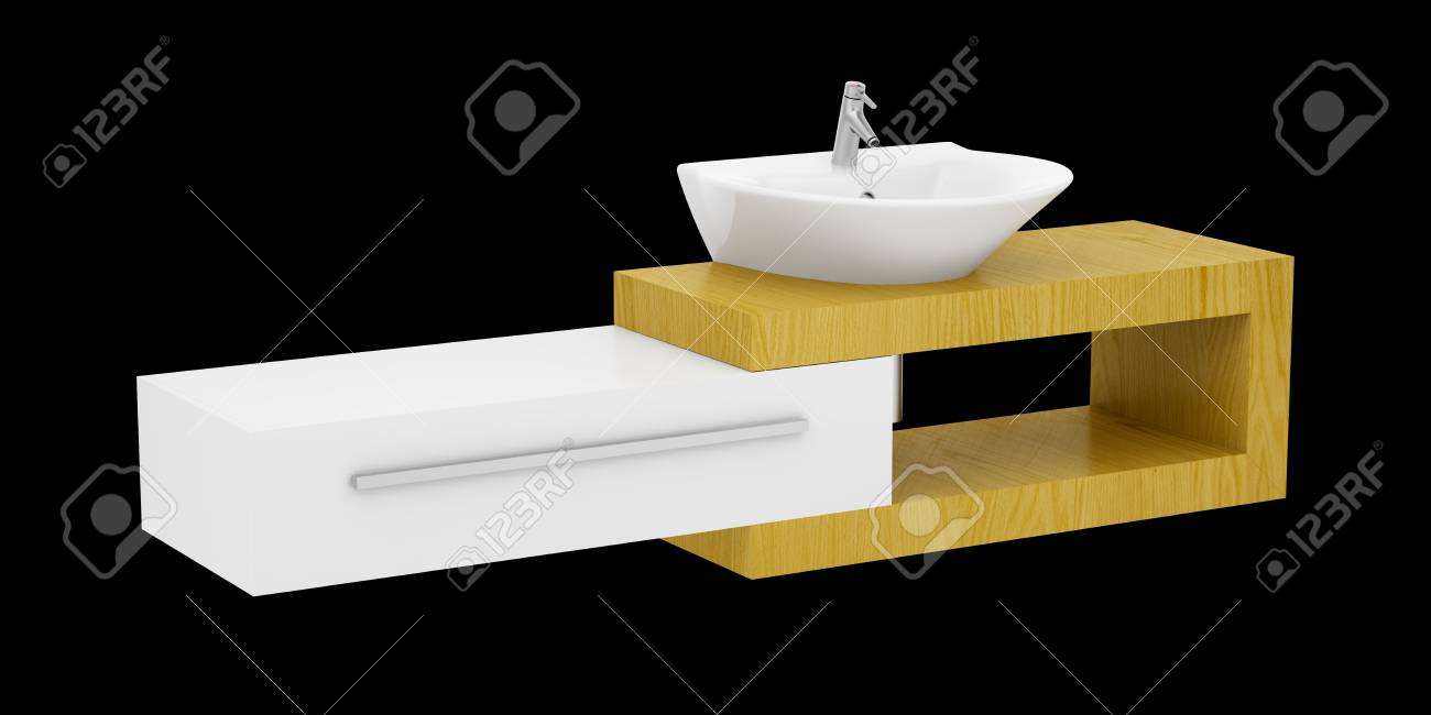 Moderne Badkamer Wastafel Geïsoleerd Op Zwarte Achtergrond Royalty ...