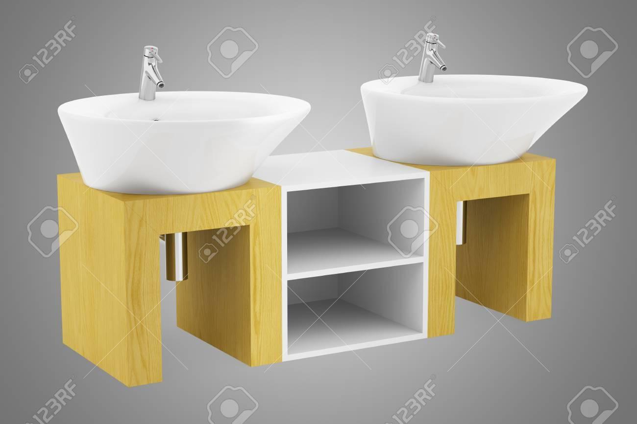 Modern double bathroom sink - Stock Photo Modern Double Bathroom Sink Isolated On Gray Background