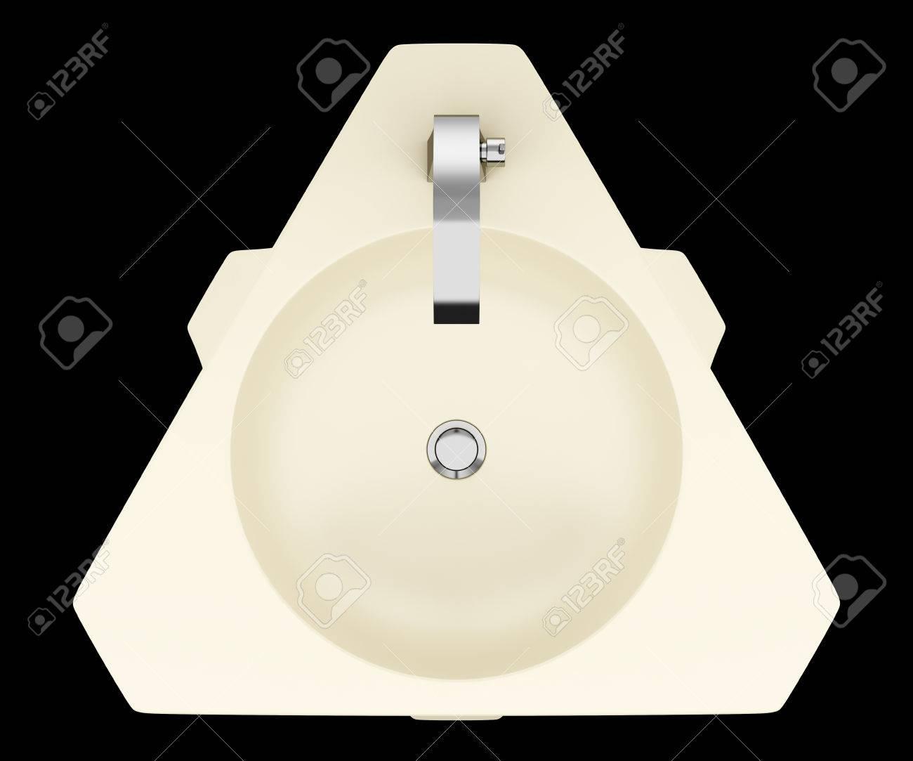 Vue de dessus de standing salle de bain beige évier moderne isolé sur fond  noir