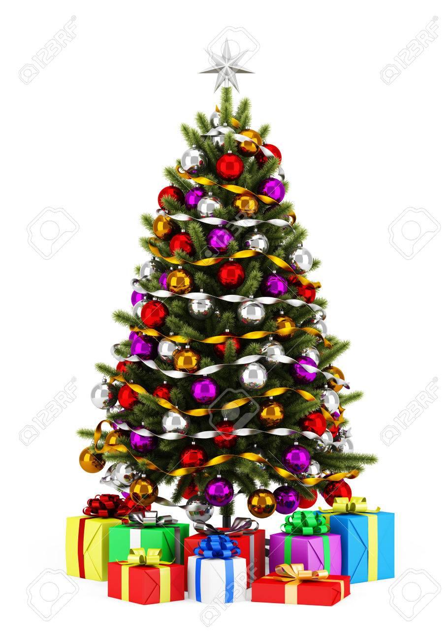 foto de archivo rbol de navidad decorado con cajas de regalo aislados sobre fondo blanco
