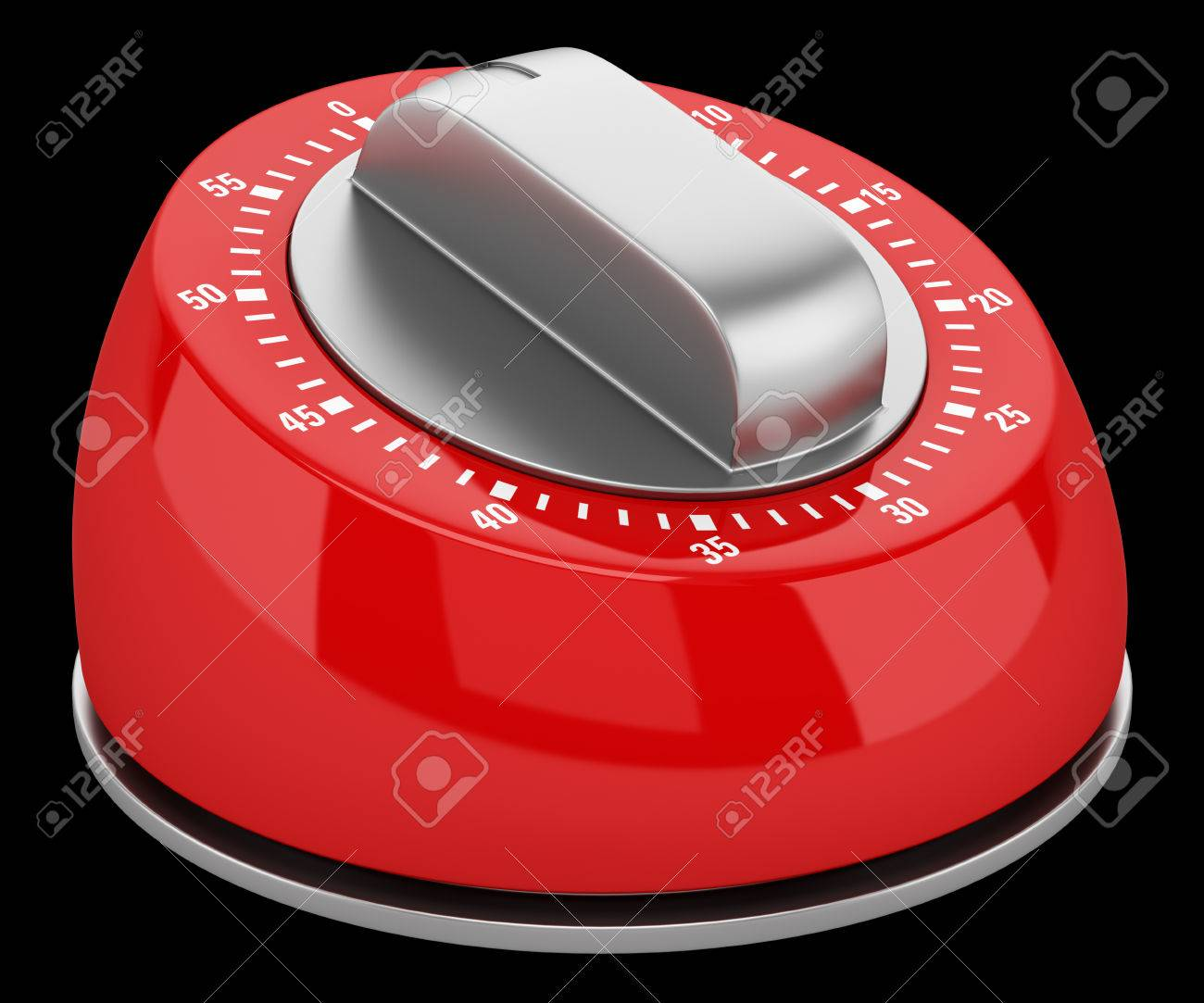 red modern kitchen timer isolated on black background stock photo  - stock photo  red modern kitchen timer isolated on black background