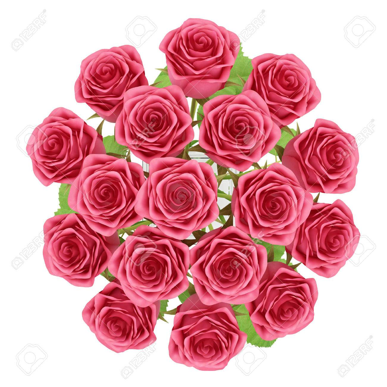 Top view of red roses in glass vase isolated on white background top view of red roses in glass vase isolated on white background 3d illustration stock reviewsmspy