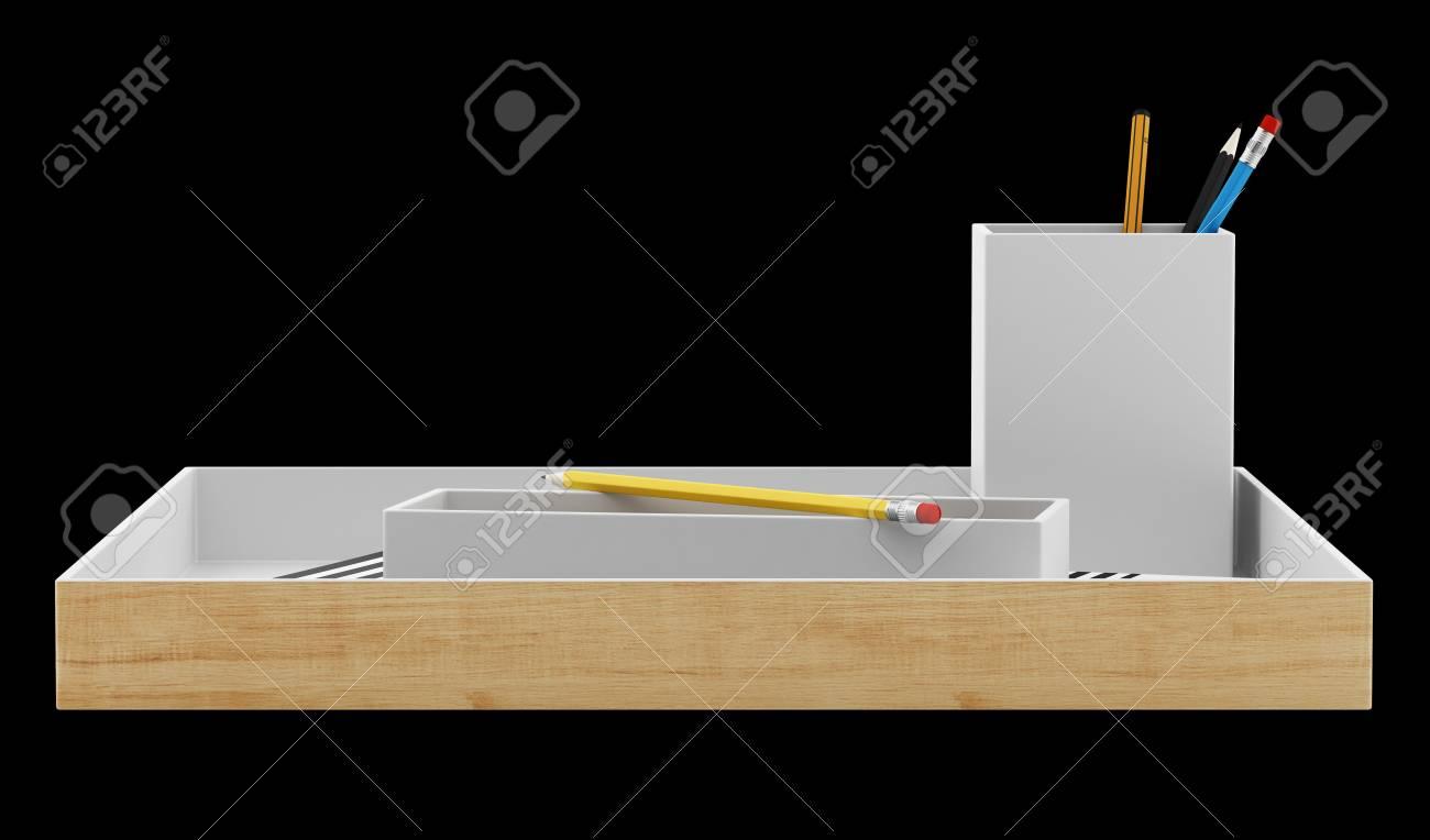 Organisateur de bureau marron avec des fournitures de bureau isolé