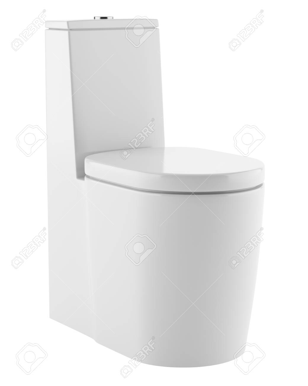 Modern Standing Toilet Bowl Isolated On White Background. 3d.. Stock ...