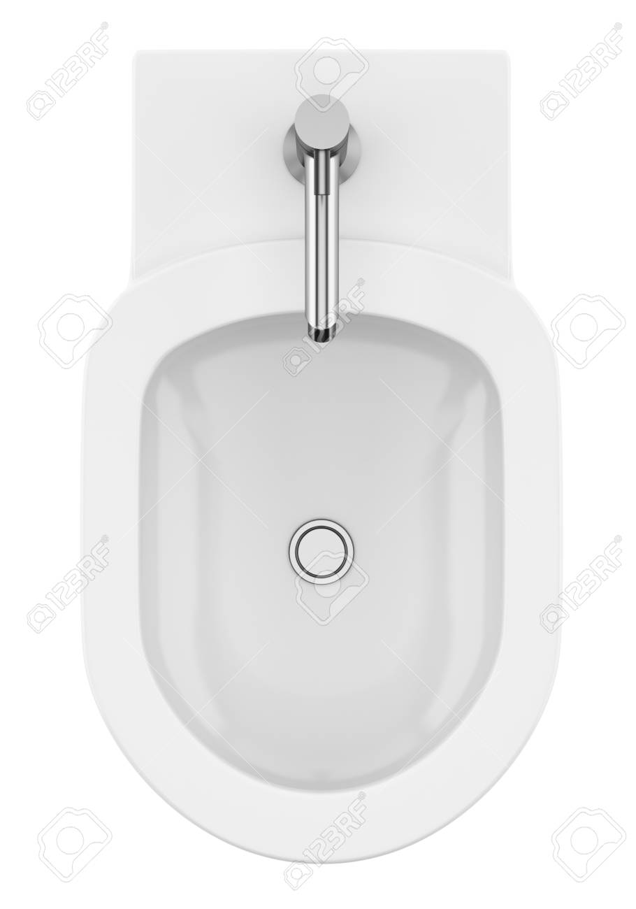 Top View Of Ceramic Bidet Isolated On White Background 3d