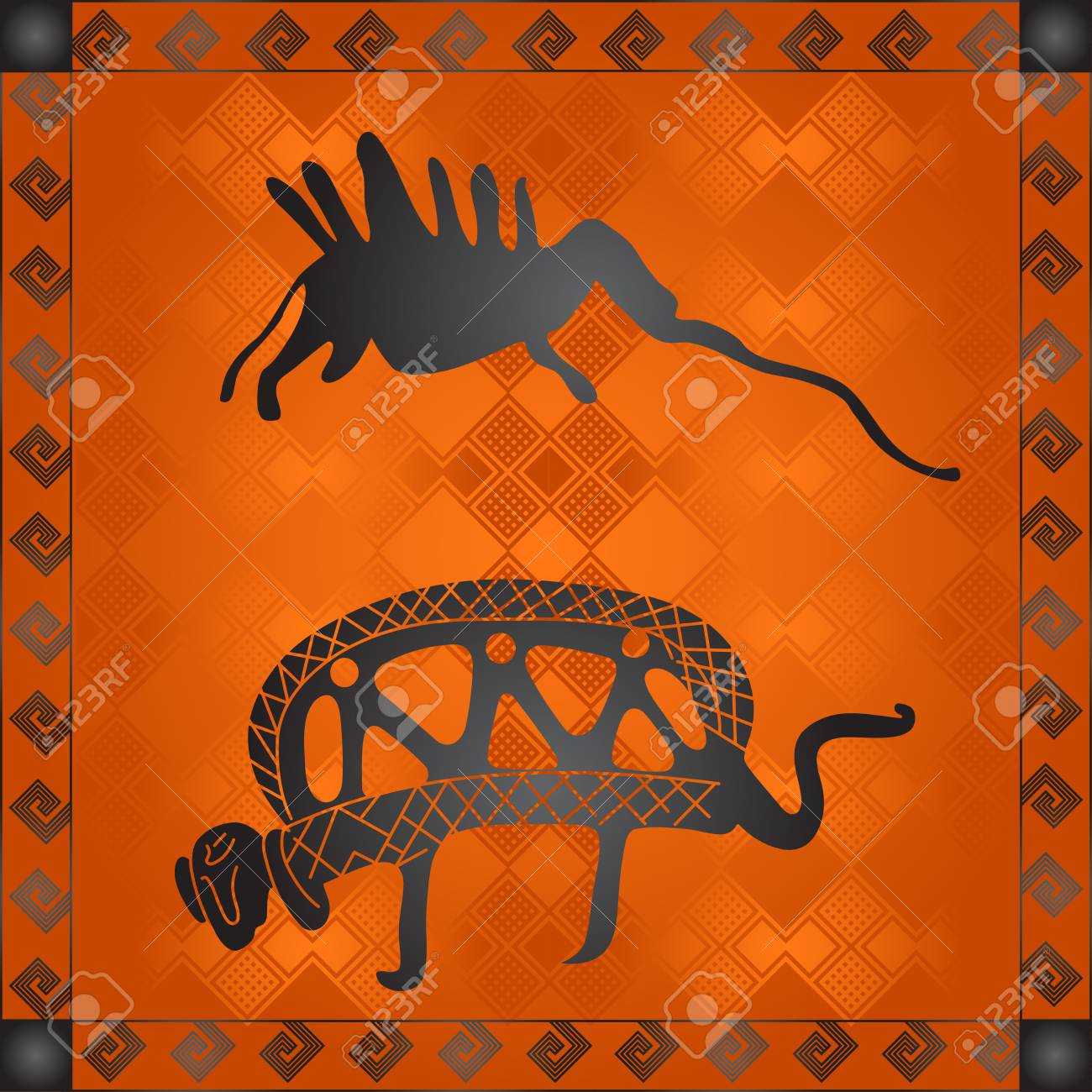 African Tribes Cultural Symbolic Ornaments Royalty Free Cliparts