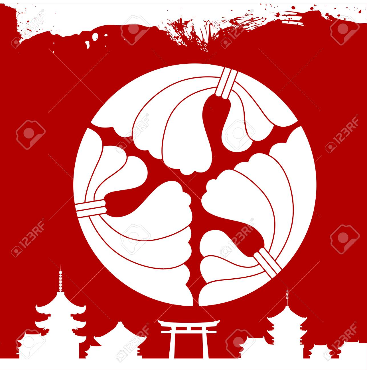 A Japanese Culture Symbolic Vector Ornaments Royalty Free Cliparts