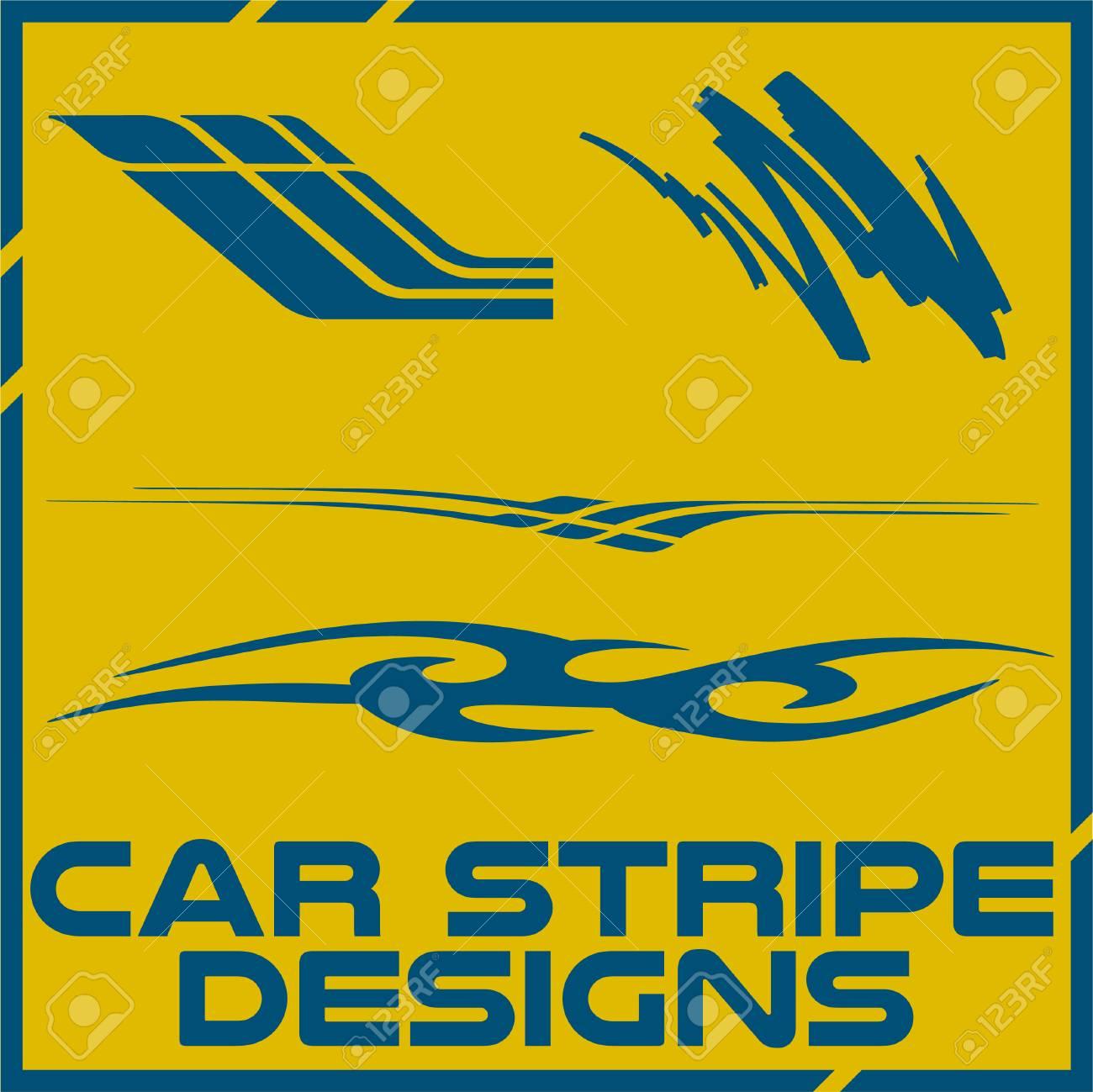 Tribal And Cool Car Stripe Design Set Adhesive Vinyl Stickers