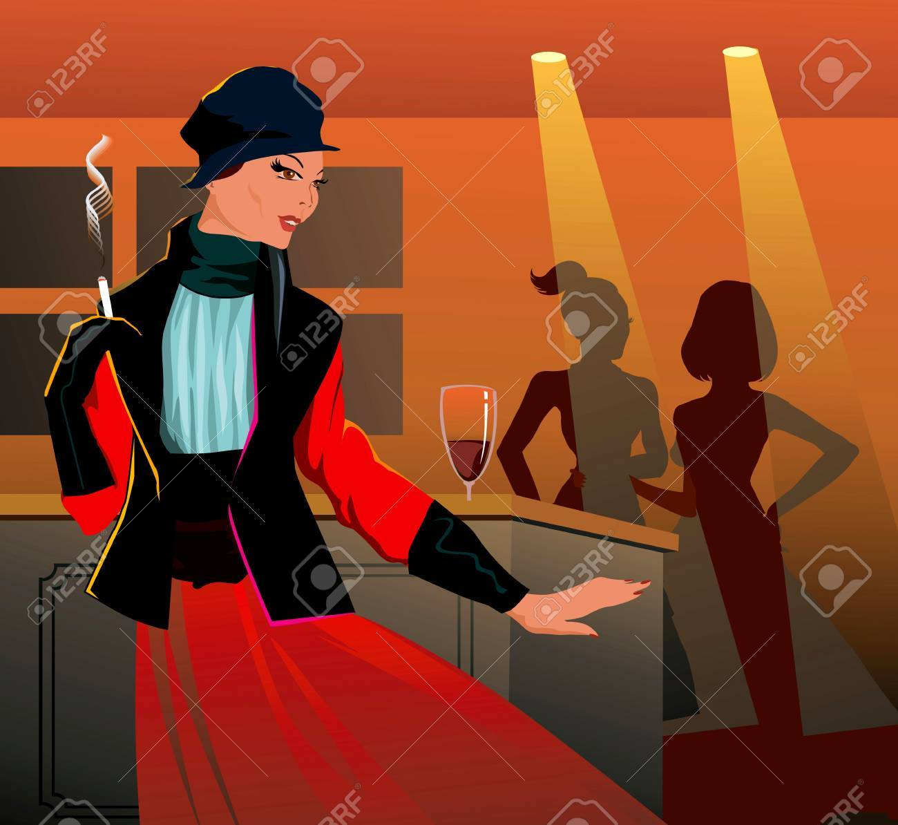 Girl relaxing in a bar and smoking with drink in table in party Stock Photo - 3388262