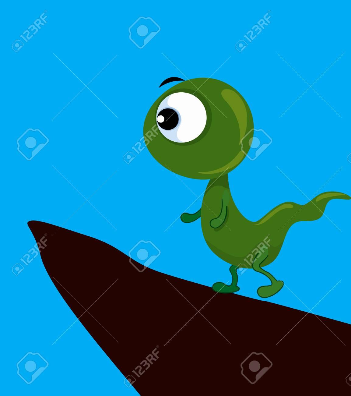 Illustration of dinosaur climbing hill Stock Illustration - 3388395