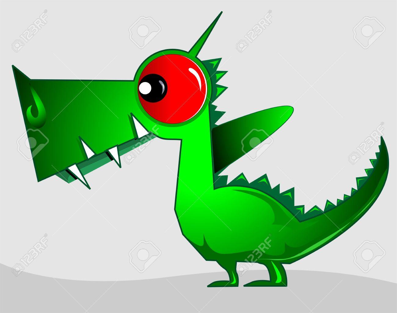 Illustration of fantasy of a green dinosaur Stock Illustration - 3389231