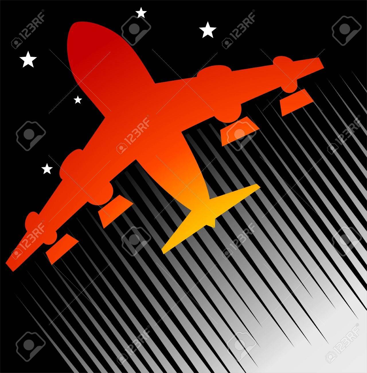 Ilustración De Un Avión De Color Rojo En Fondo Negro Fotos, Retratos ...