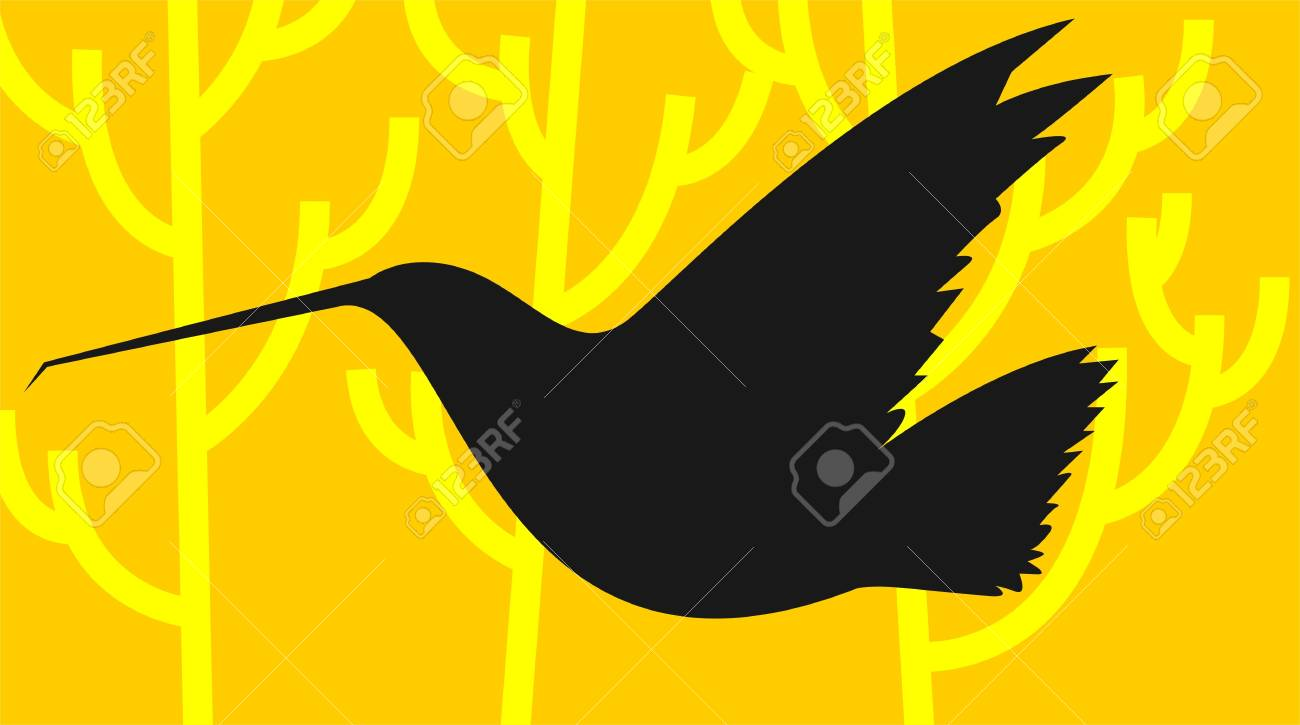 Illustration of a bird flying in yellow background Stock Illustration - 3418411