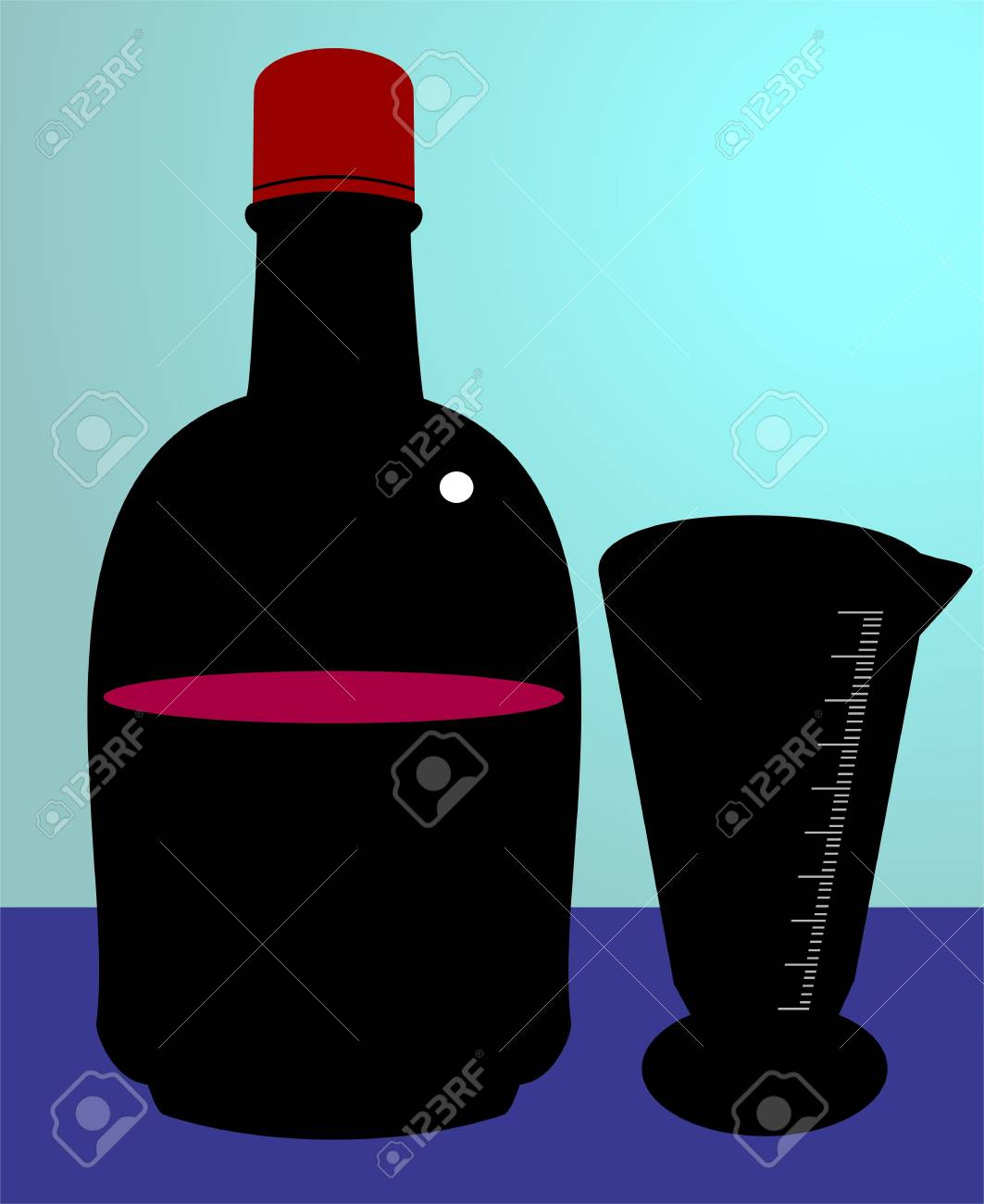Illustration of syrup bottle and ounce glass Stock Photo - 3419762