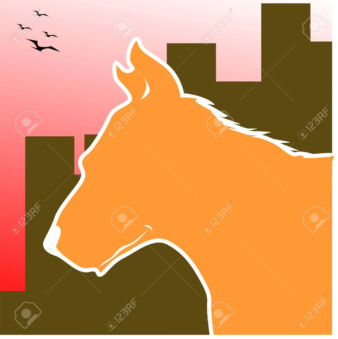 Illustration of silhouette of a horse Stock Photo - 3423410