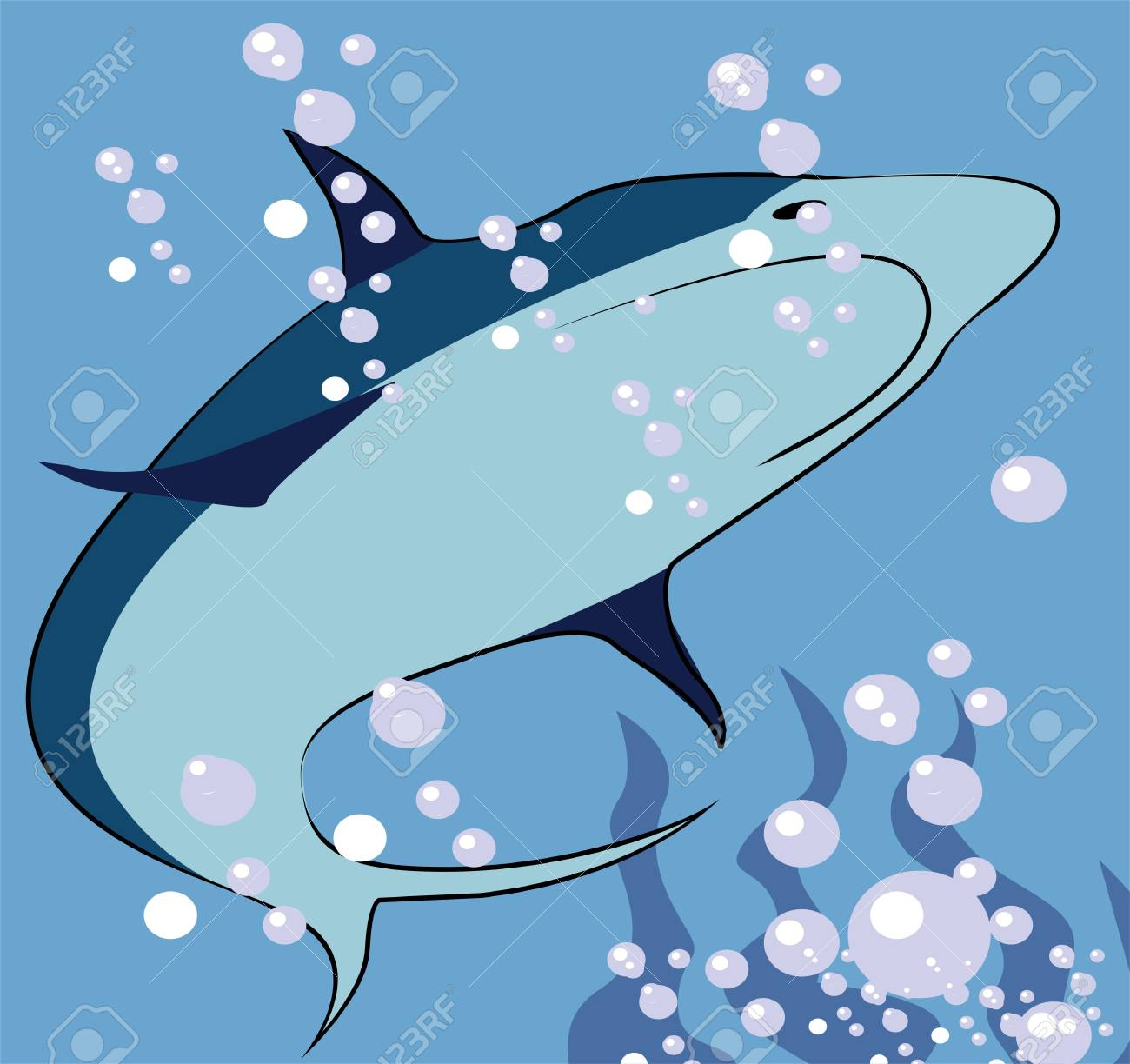 Illustration of a silhouette of a shark underwater Stock Illustration - 3423421
