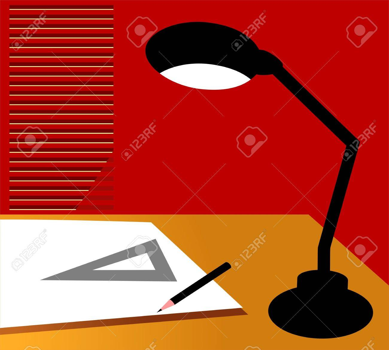 Table lamp for drawing - Illustration Illustration Of Black Table Lamp And Drawing Tools
