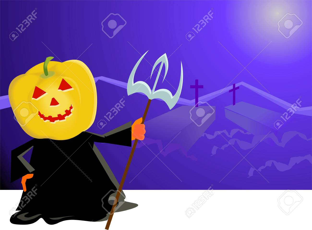 Illustration of a devil with sword at night Stock Illustration - 3881842