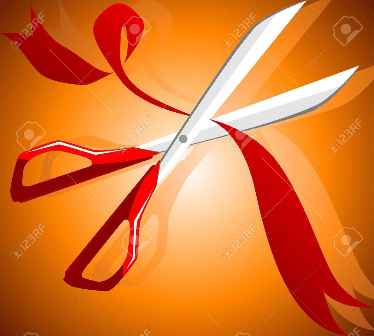 Illustration of a scissors cutting a ribbon Stock Illustration - 3966979