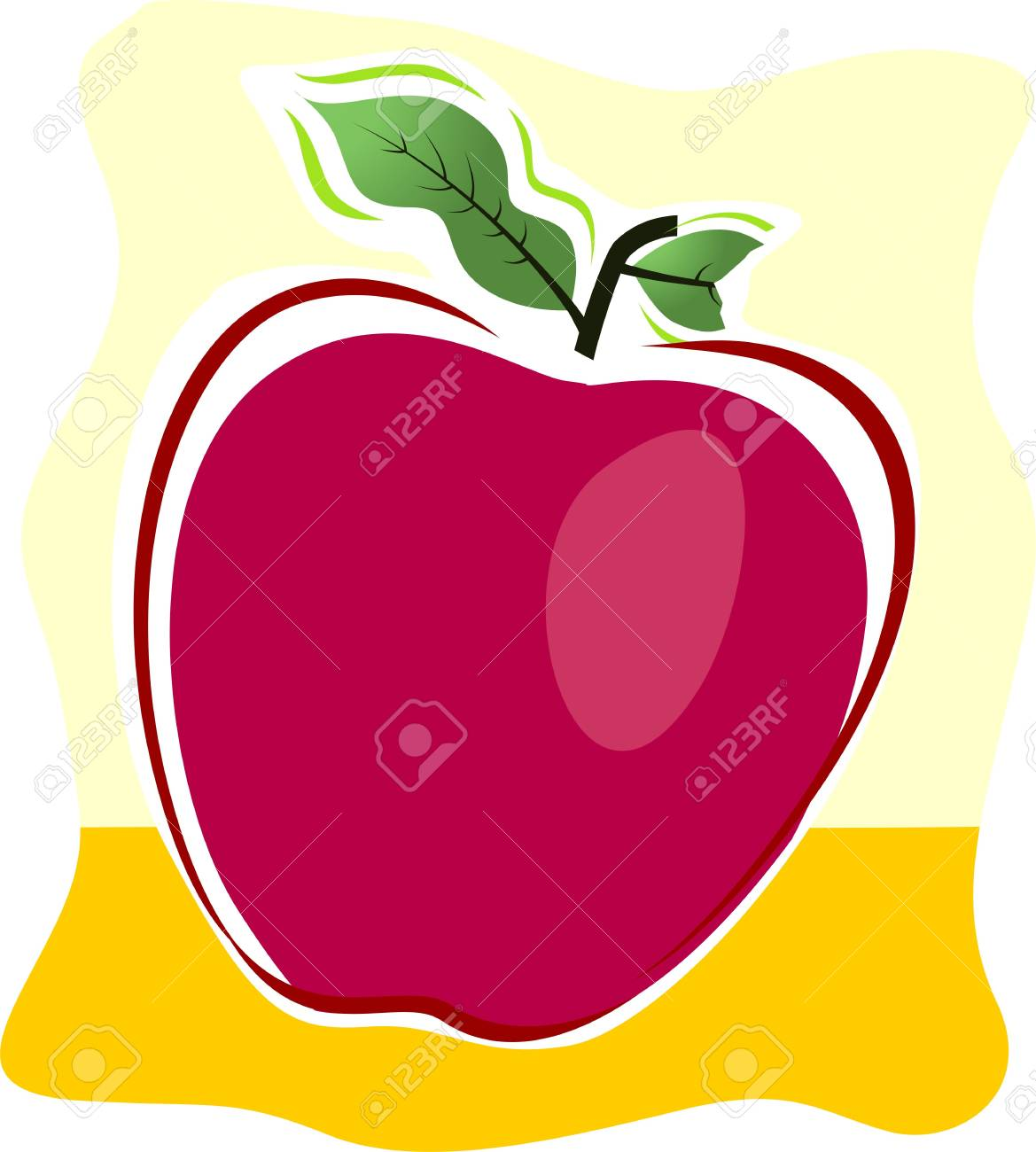 Illustration of an apple in a yellow shade back ground Stock Illustration - 4136381