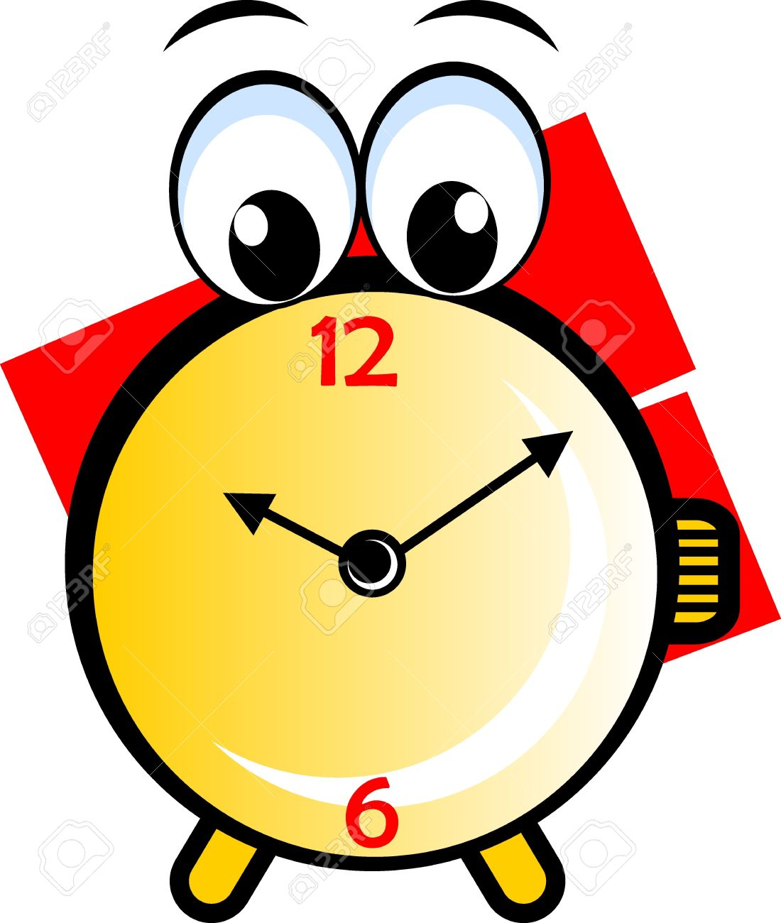 Illustration Of A Cartoon Round Clock Stock Photo Picture And