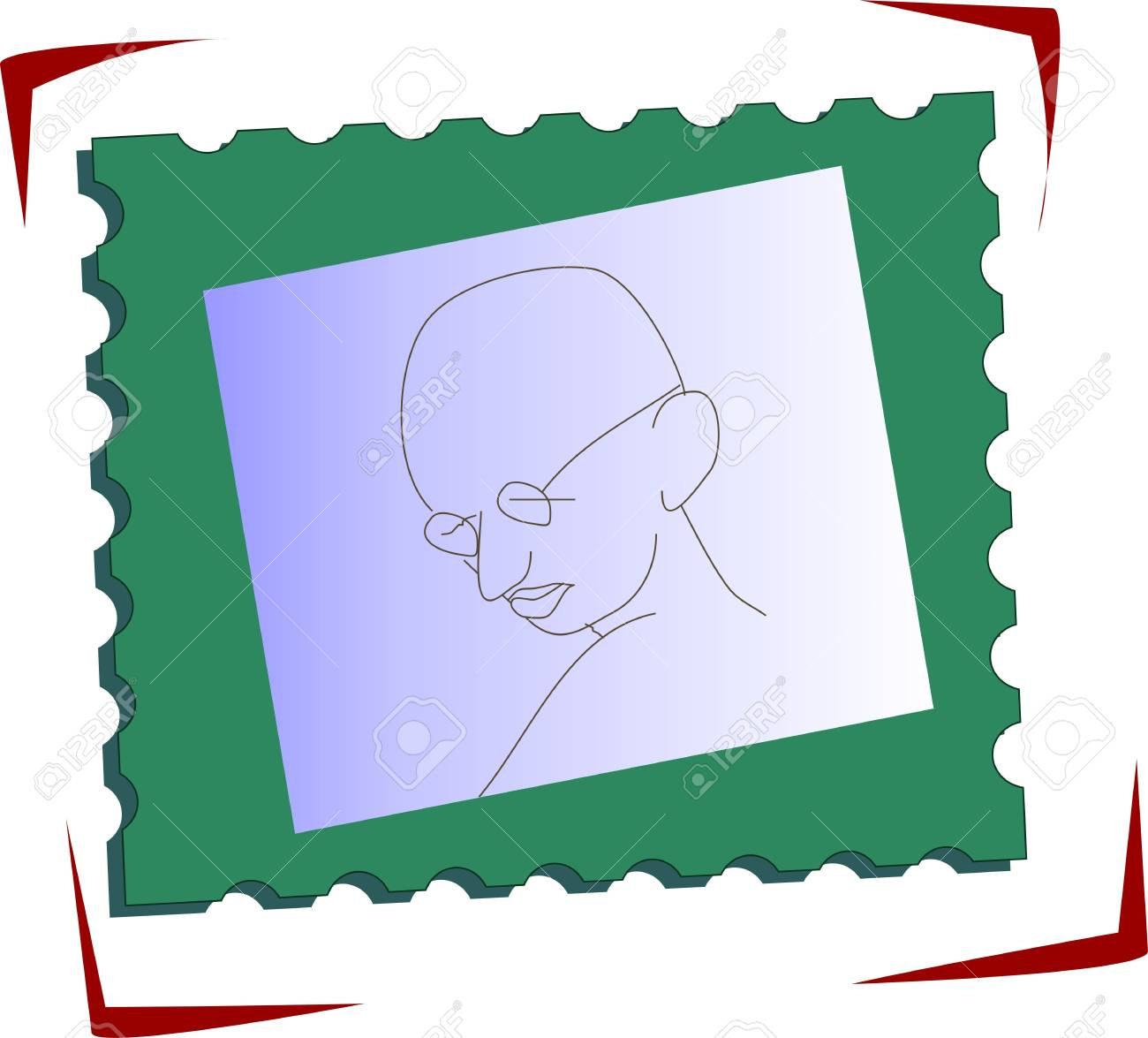 Illustration of stamp with Gandhi head Stock Illustration - 5985870