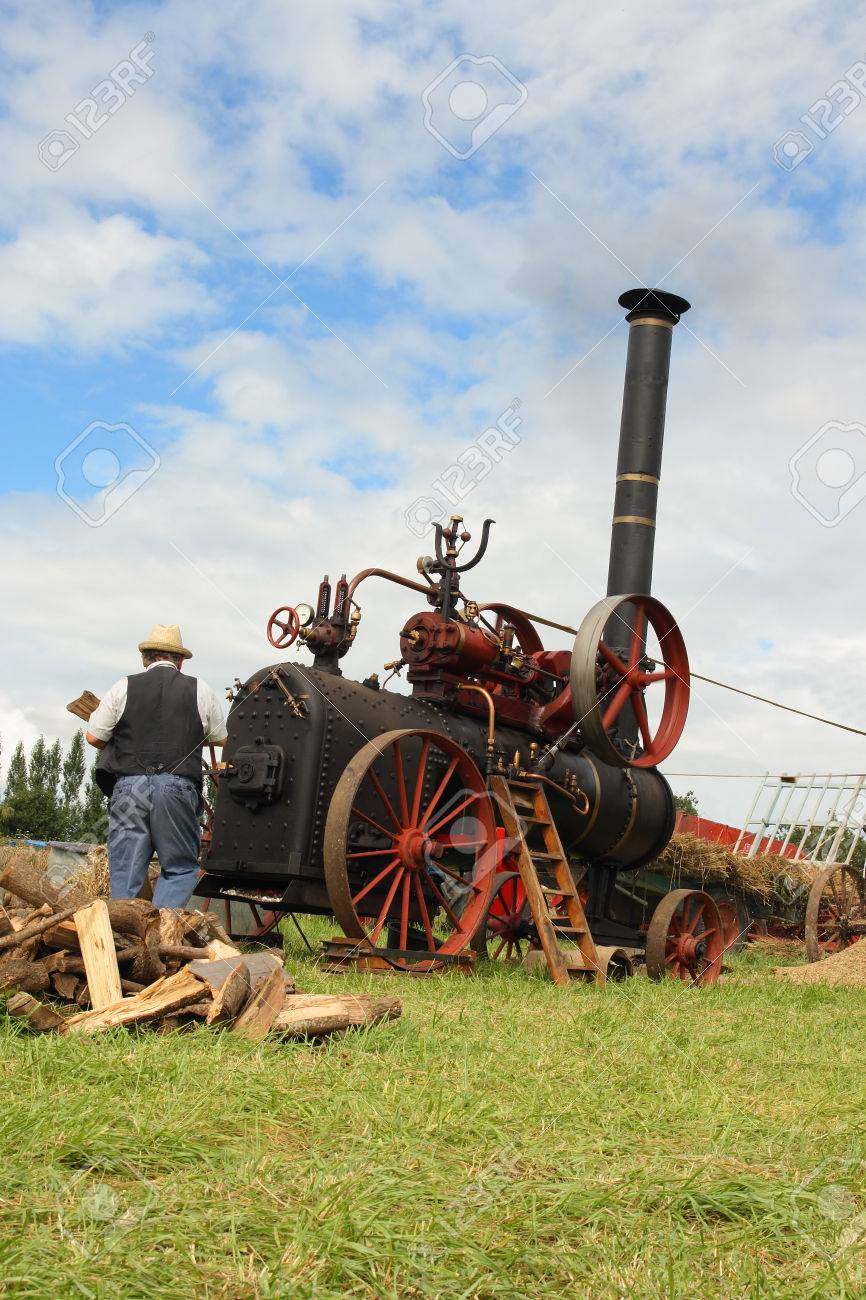 Vintage Traction Steam Engine Working In A Field At The Wheat ...