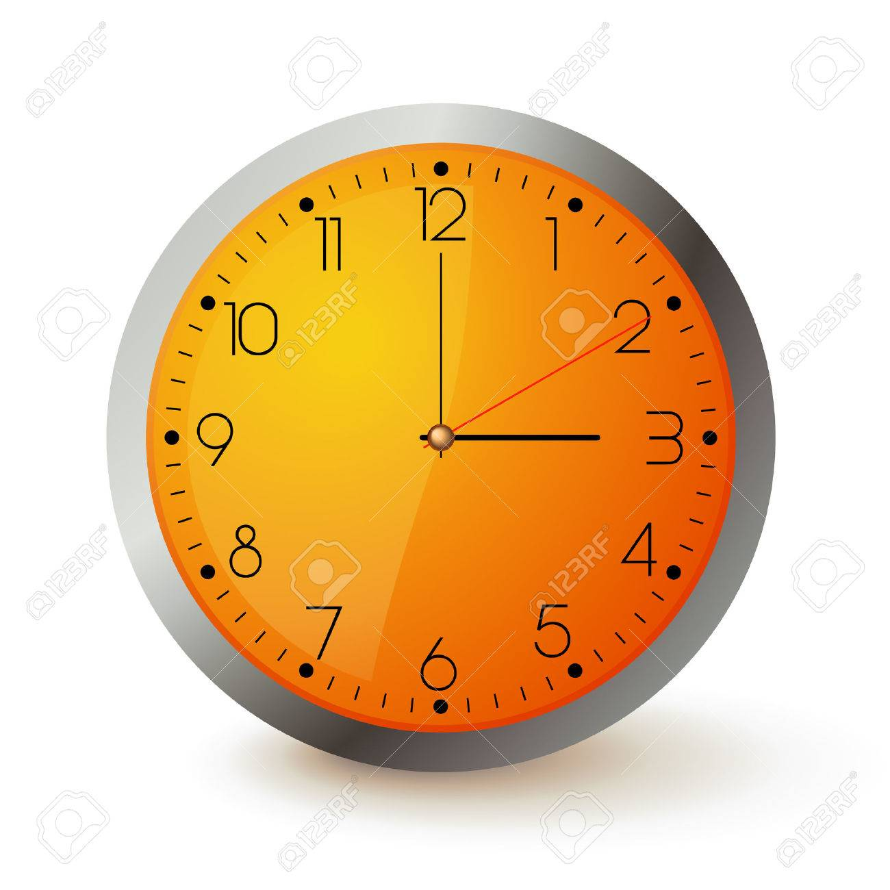 Wall Clock With Orange Face And Metal Round Royalty Free Cliparts ...