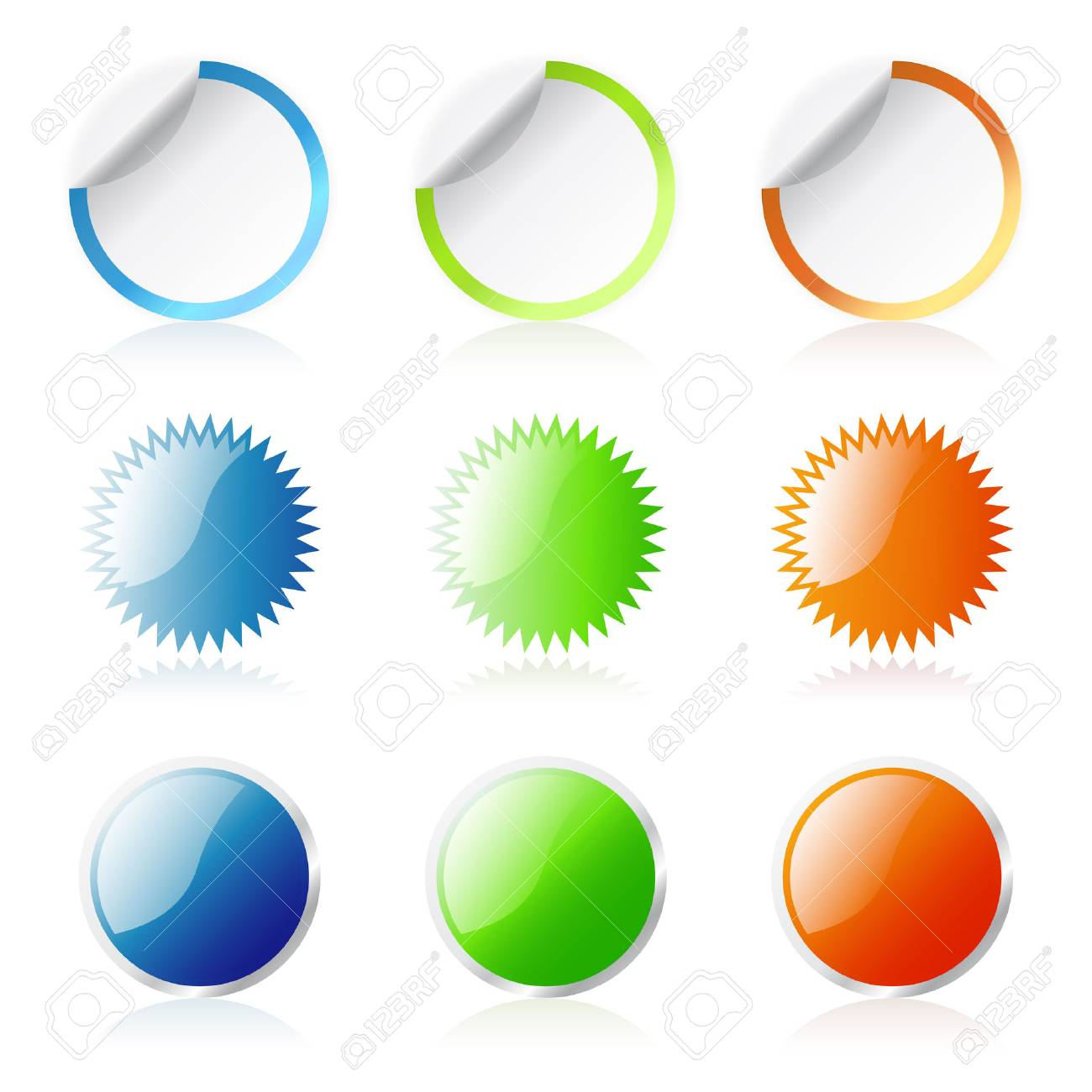 Glossy round stickers Stock Vector - 3858798