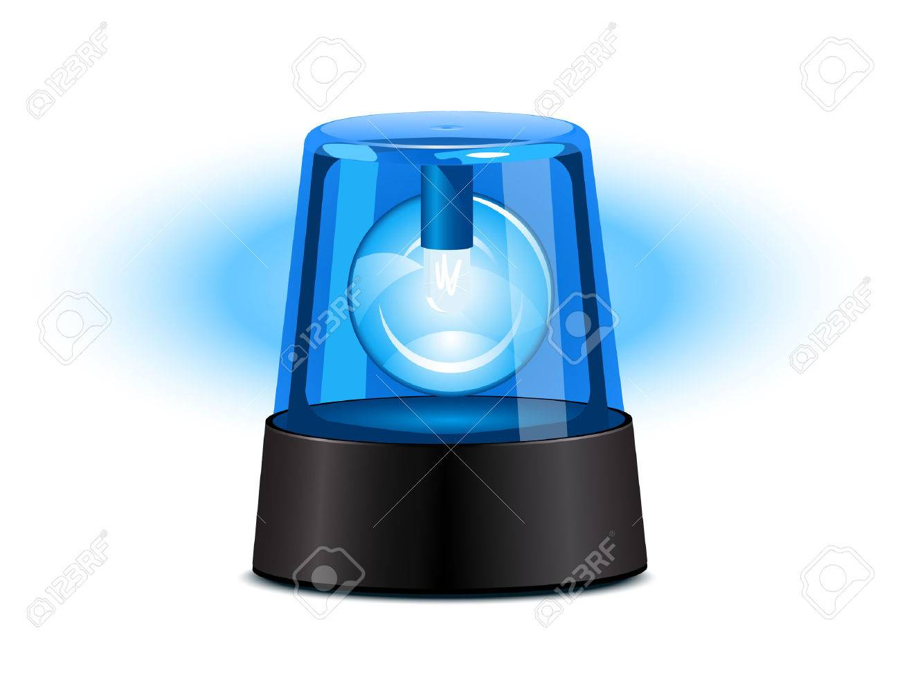 Blue flashing light over a white background Stock Vector - 5012898