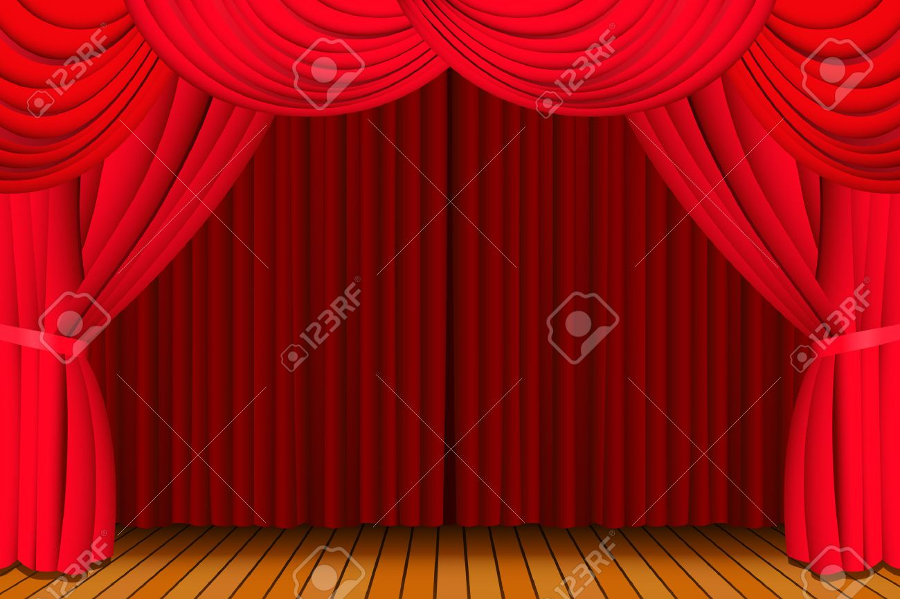 Closed theater curtains - Stage With A Closed Red Theatre Curtain Stock Vector 5880775