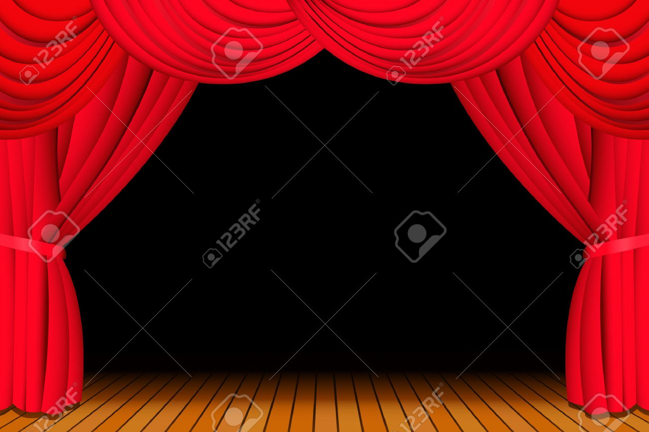 Stage with opened red theatre curtain Stock Vector - 5892790