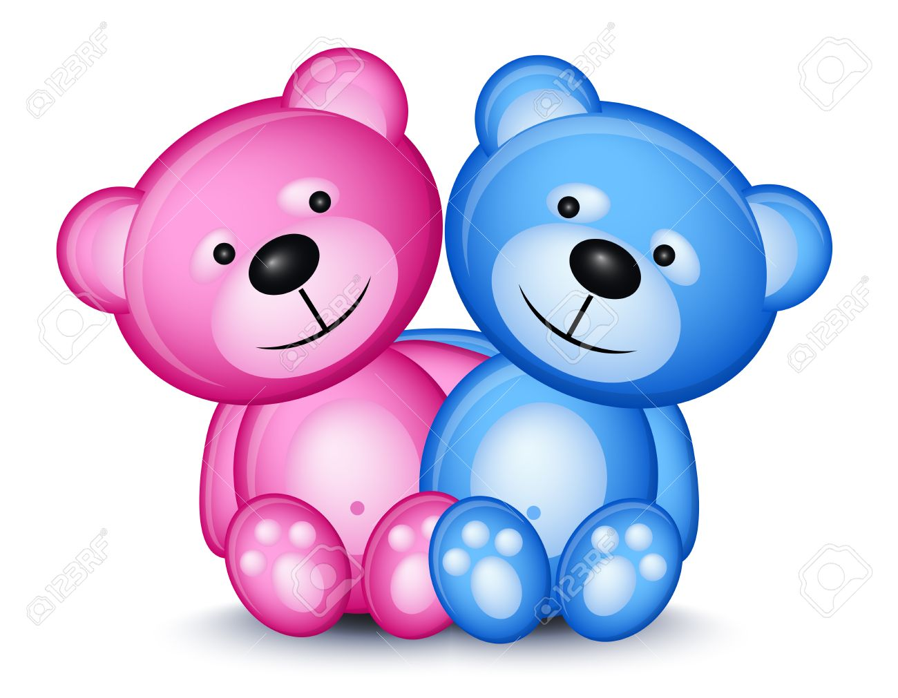 Teddy bear couple isolated on white background Stock Vector - 7044024
